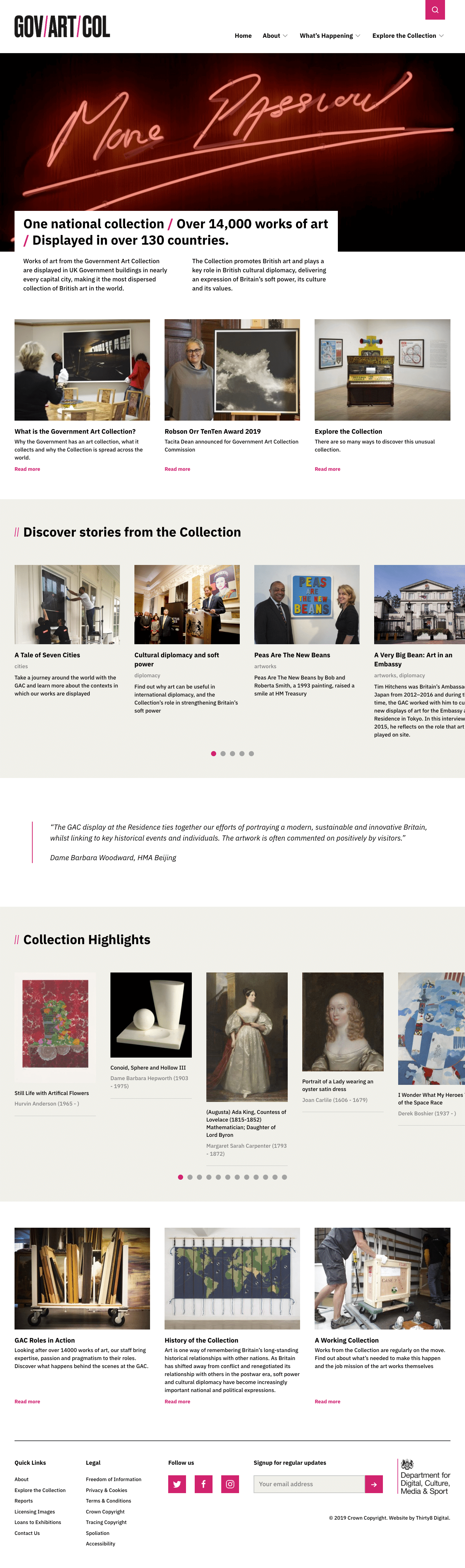 Government Art Collection homepage design