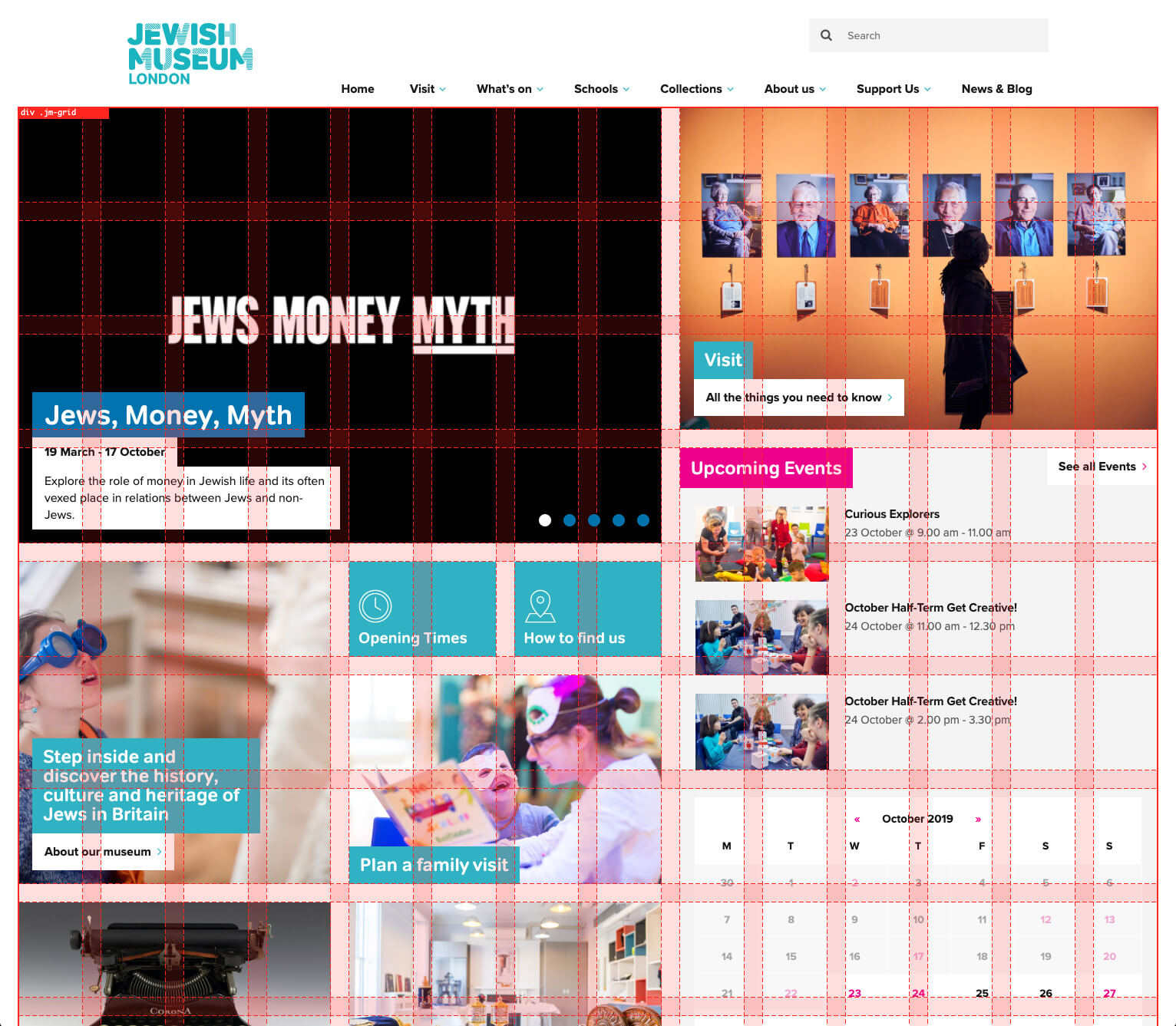Jewish Museum homepage with grid displayed
