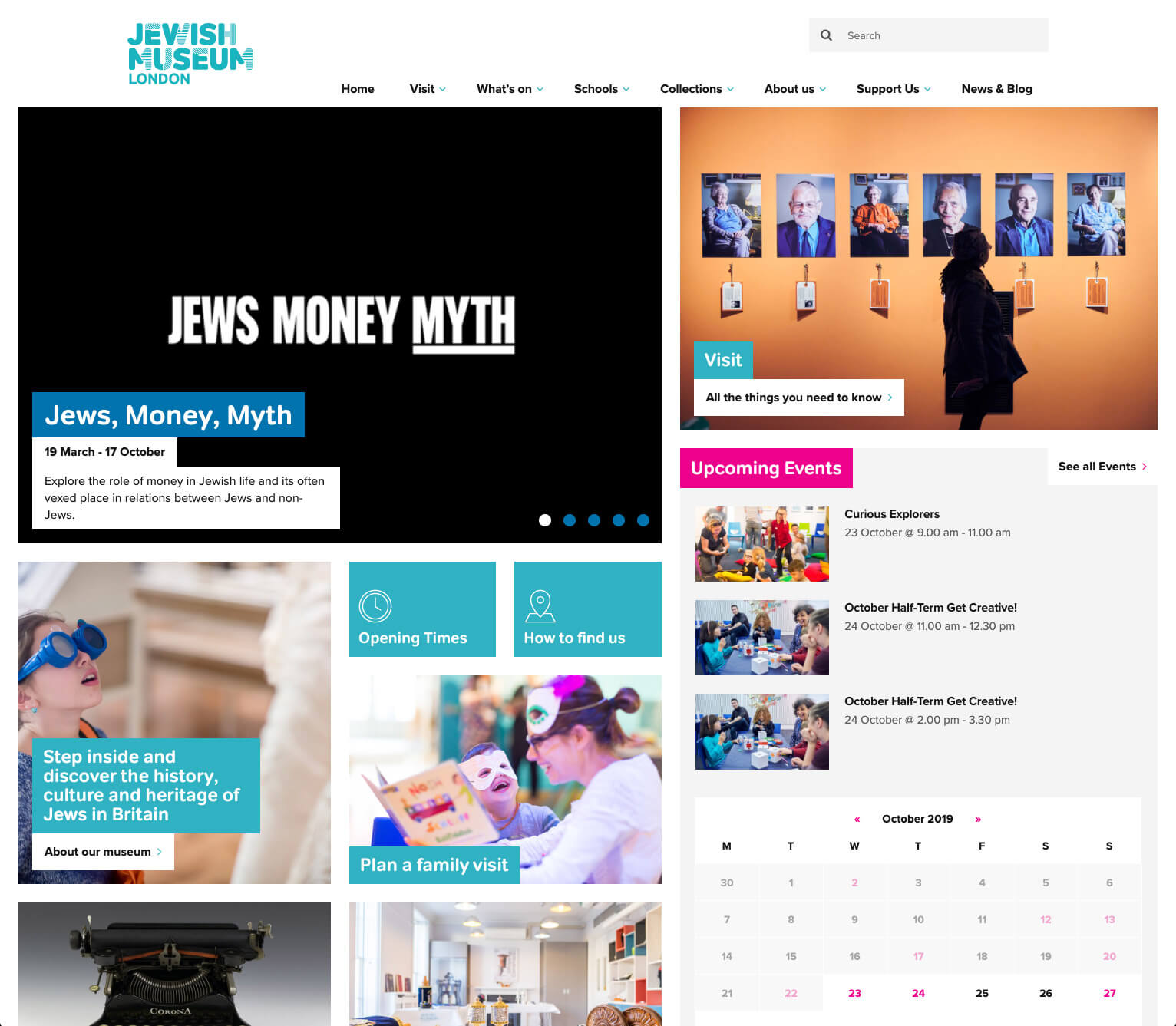 Jewish Museum homepage without grid displayed