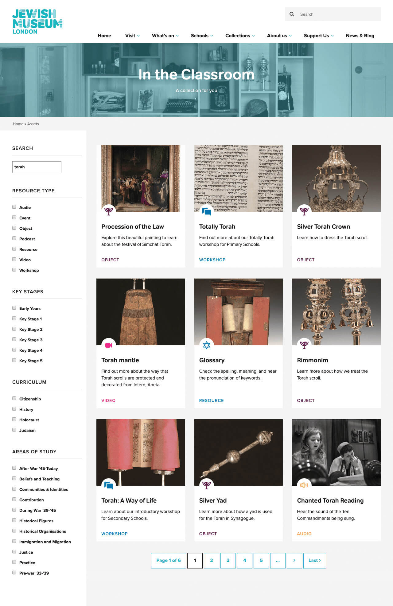 Jewish Museum London education portal design